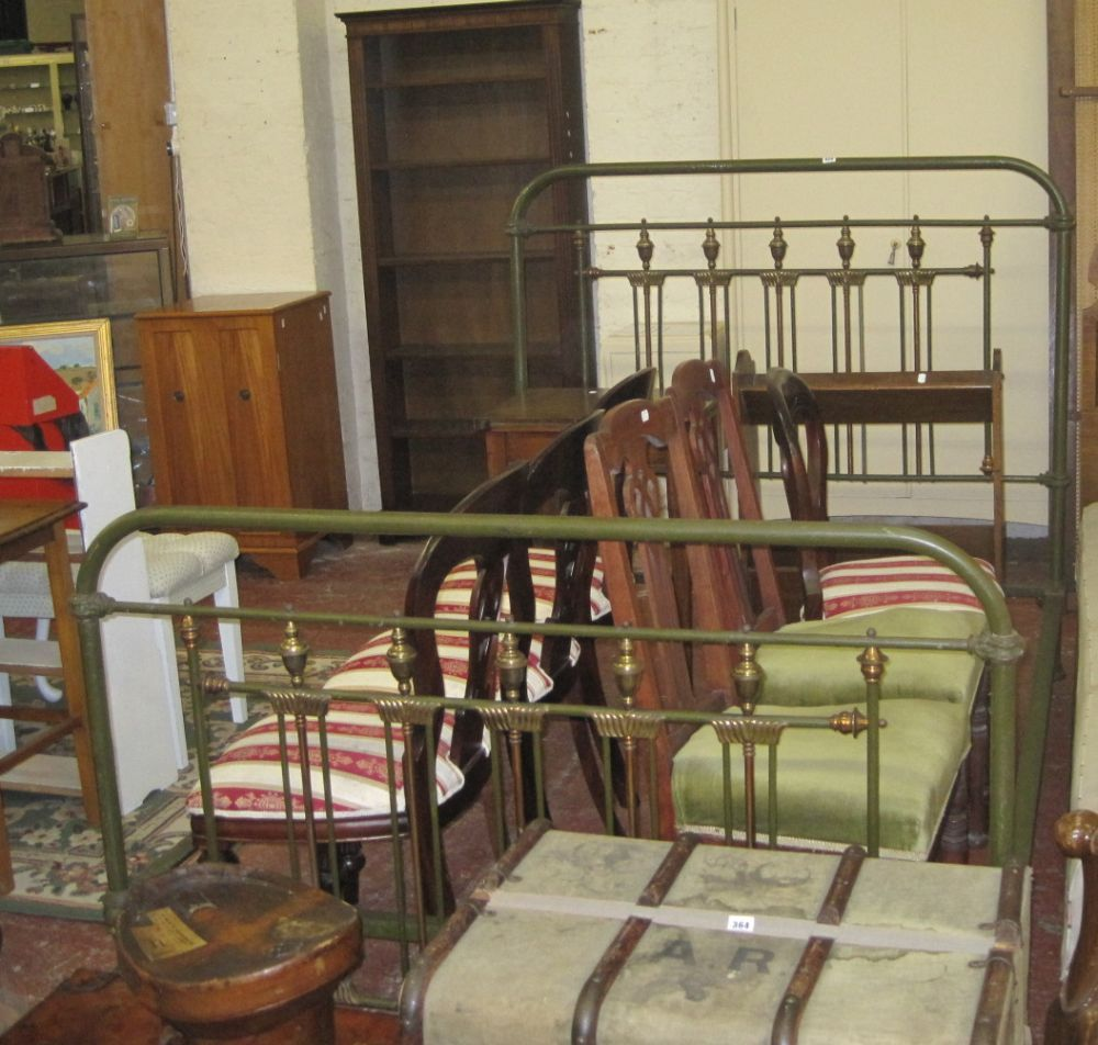 A green painted iron and brass mounted bedstead
