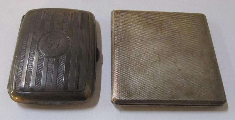 A lot comprising two silver cigarette cases