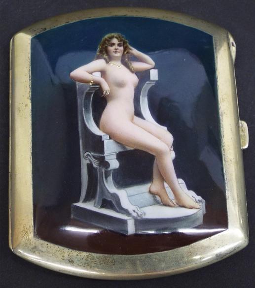 Continental white metal gilt cigarette case