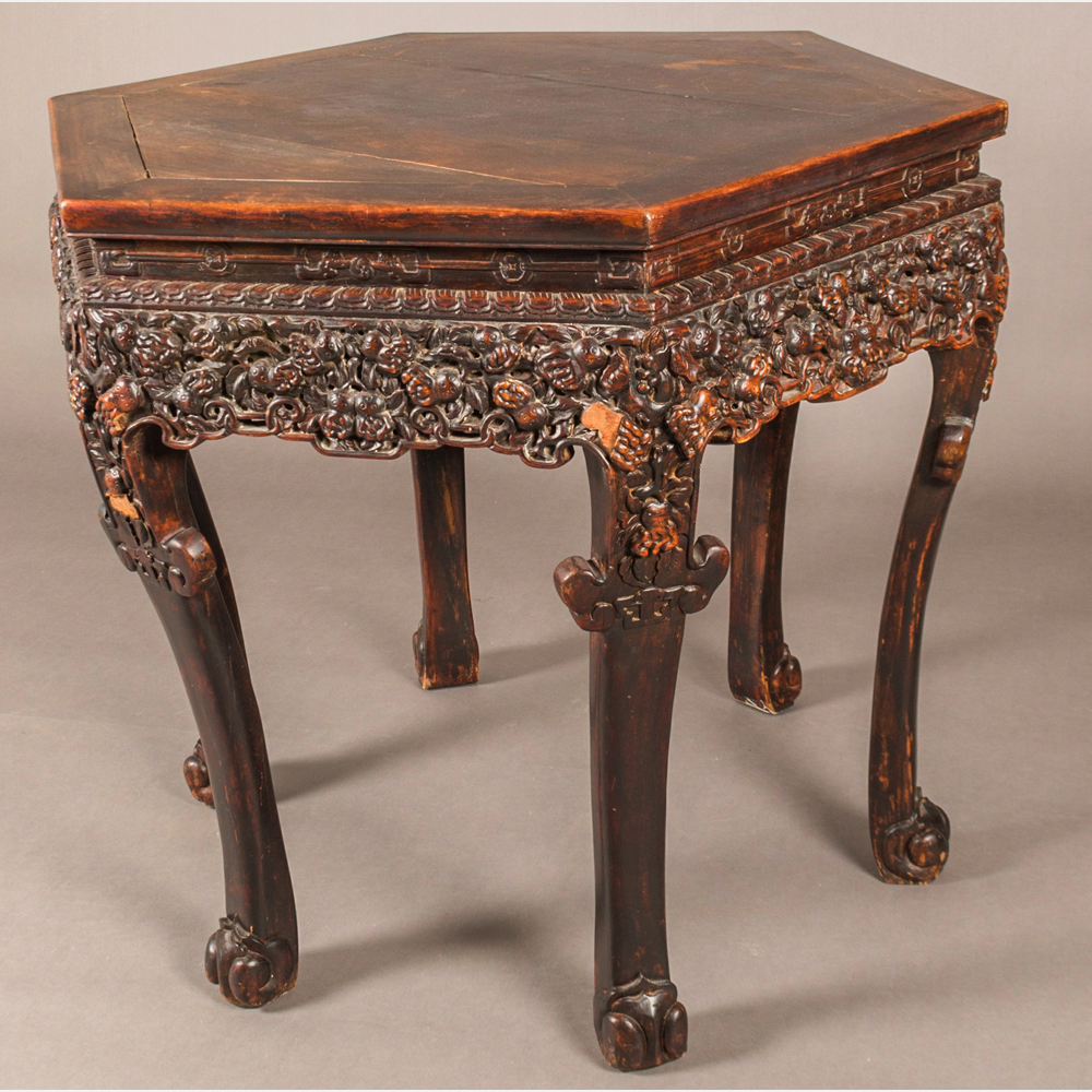 A Chinese Carved Elm Center Table