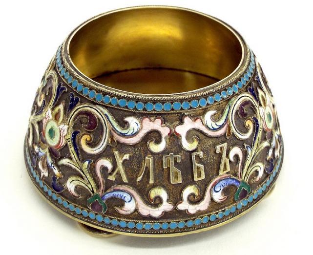 Russian silver gilt and enamel overlaid table salt