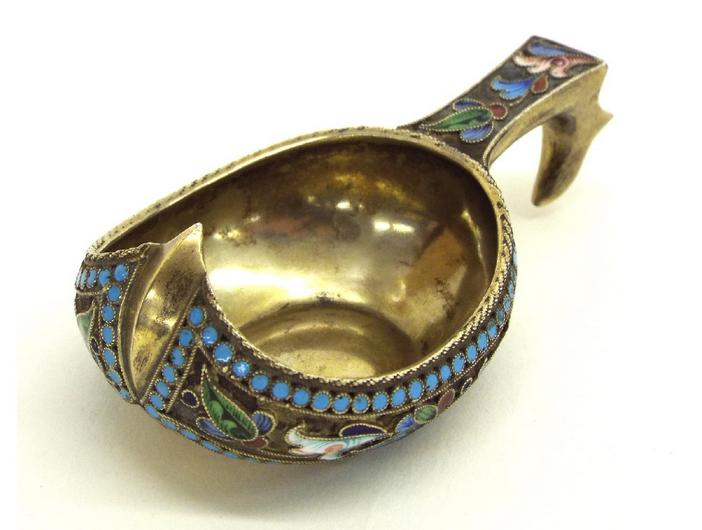 Russian silver-gilt and enamel kvosch, decorated with floral and beaded handle and band