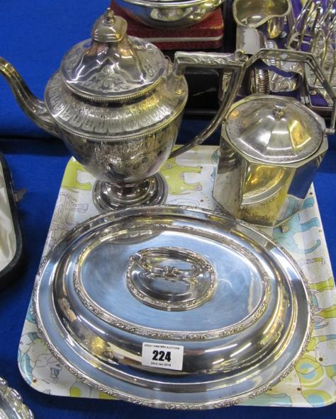 A lot comprising an EP coffee pot, biscuit barrel and entree dish