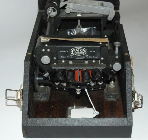 A Matrix Model G braille typewriter in case
