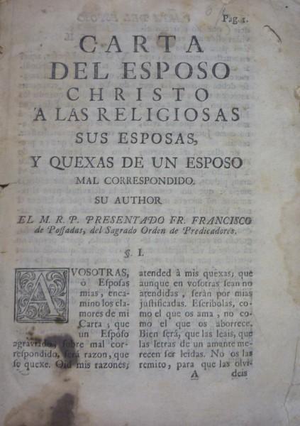 CARTA DEL ESPOSO CHRISTO