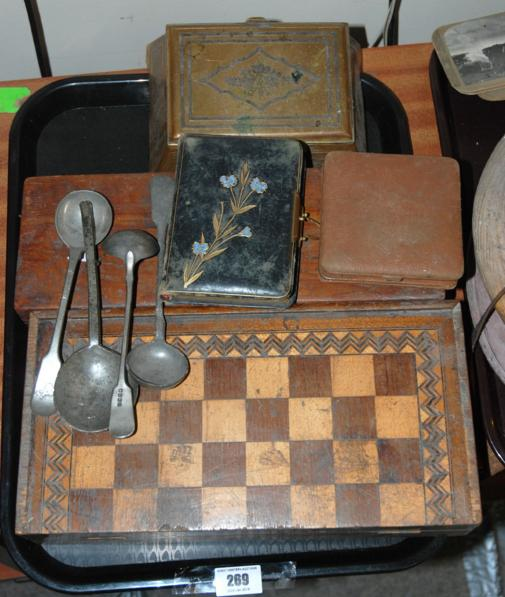 A tray lot including games box, travel clock etc