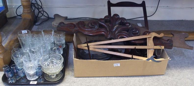 Lot comprising assorted glassware, wooden stands etc