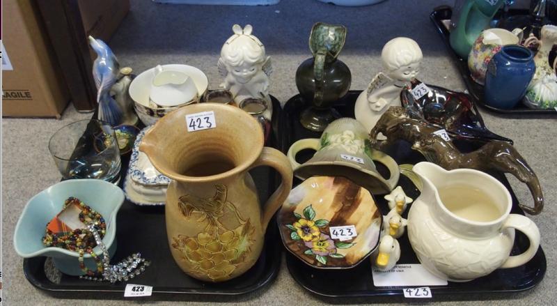 Beswick three duck group, Tunstall Viola tazza, ceramics otter group and assorted ceramics and glassware.