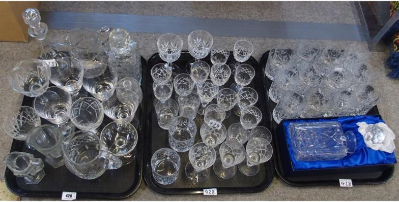 Assorted glassware including decanters, jugs and drinking glasses.