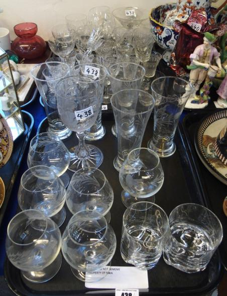 Antique glass etched with a swan, various thistle etched glasses and assorted other glasses