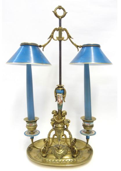 Brass and porcelain two arm desk candelabra