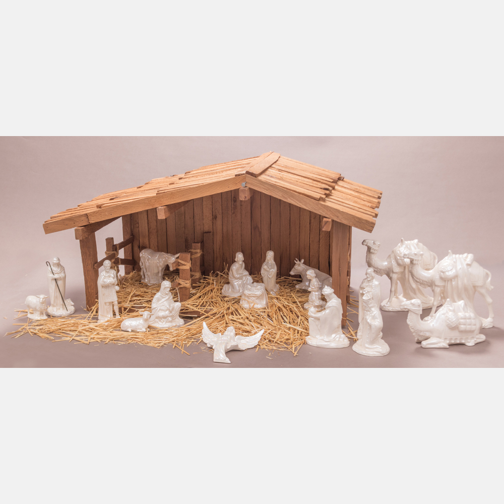 A Wood and Lusterware Crèche