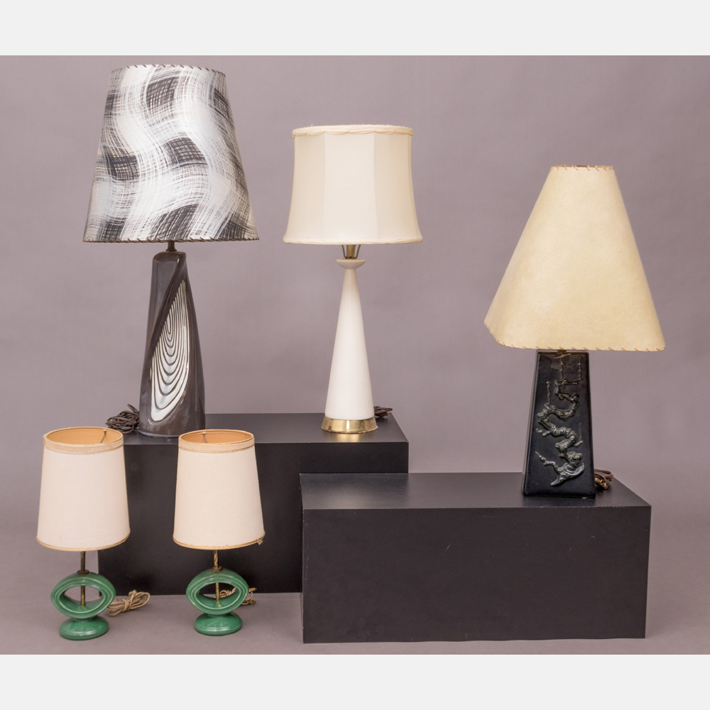 Five Mid-Century Modern Table Lamps