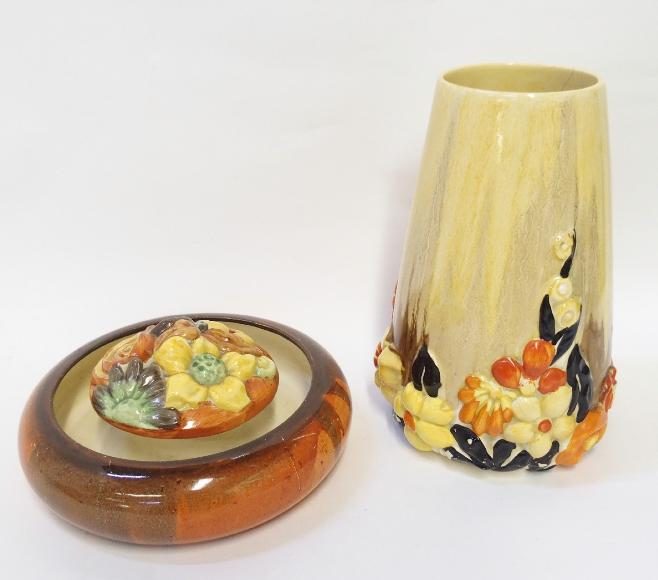 Clarice Cliff Bizarre 'My Garden' vase and a similar posy ring