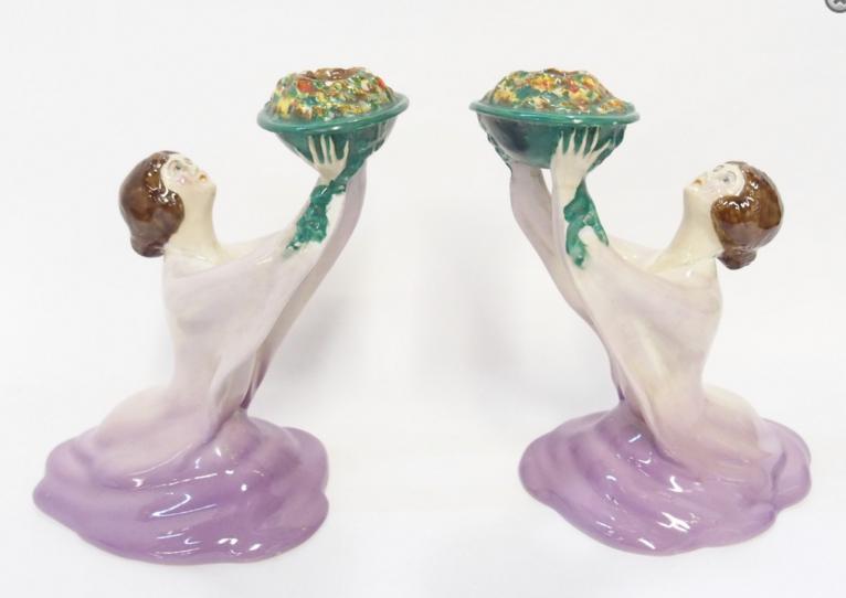 Pair of Wilkinsons Ltd figural candlesticks