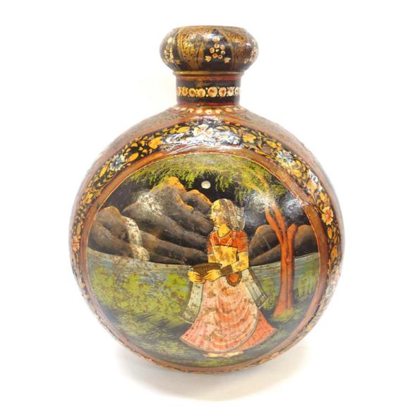 Indian metal moon flask, painted with a woman beside a river