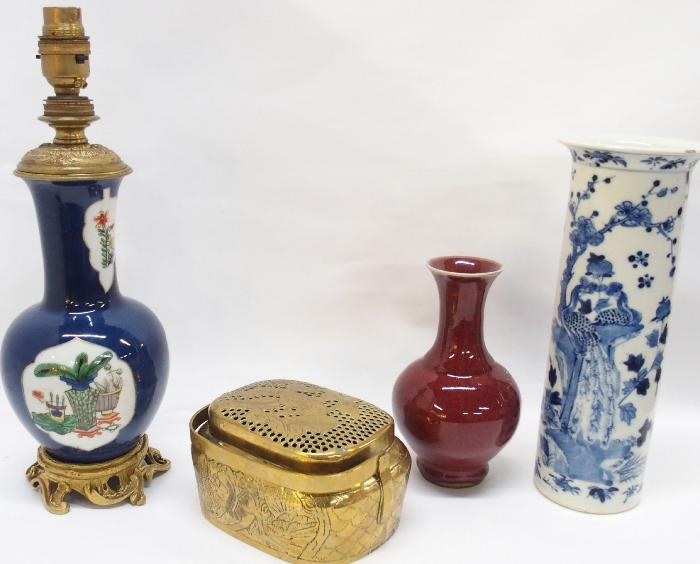 Chinese blue and white vase decorated with peacocks, Sang de Bouef glazed vase, brass handwarmer and a table lamp