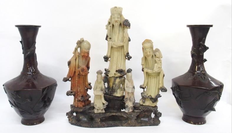 Chinese soapstone figural group and a pair of bronzed Chinese vases