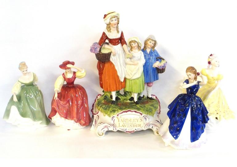 Yardley Lavender advertising group and four Doulton figures including Buttercup HN2399