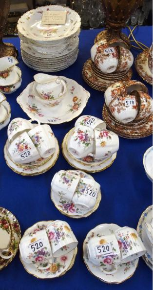 Carlsbad porcelain dessert service comprising two tazzas and eight plates, together with Royal Crown Derby 'Derby Posies' tea an