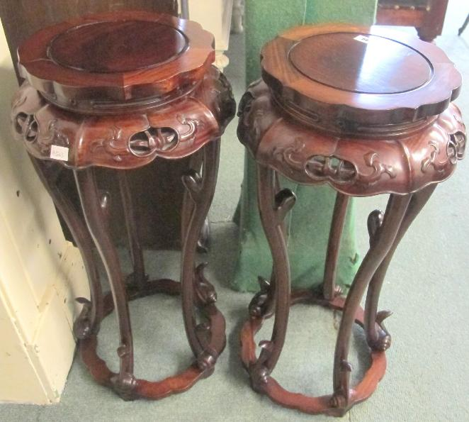 A pair of Chinese hardwood plant stands (2)