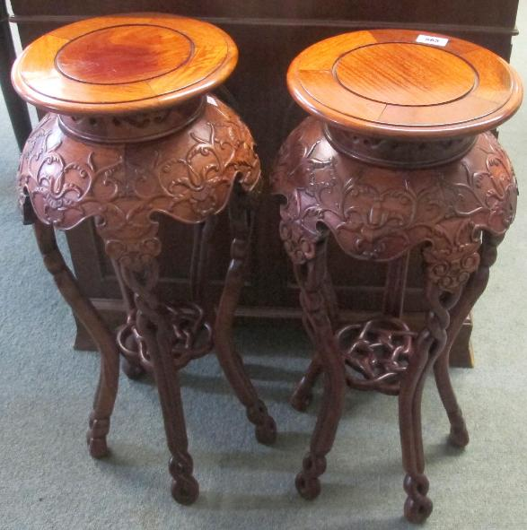 A pair of Chinese hardwood plant stands