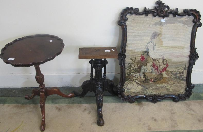 A Victorian woolwork polescreen panel and a modern mahogany occasional table with tripod base and another base (3)