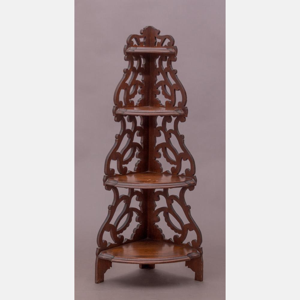 A Victorian Walnut Four Tier Corner Shelf