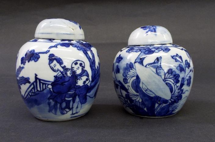 Pair of Chinese blue and white porcelain ginger jars and covers