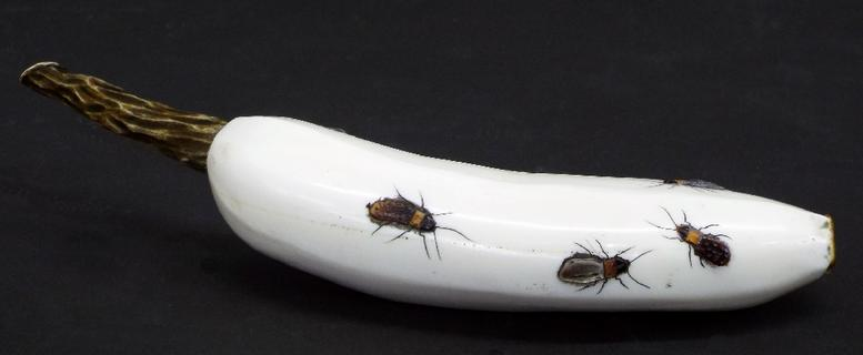 Japanese Shibayama carving on the form of a banana, applied with various insects