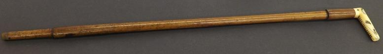 Japanese Shibyana ivory handle malacca cane walking stick, decorated with various insects