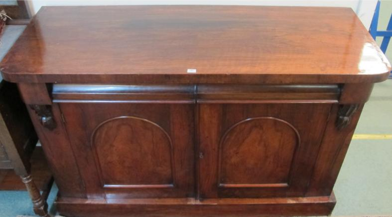 A Victorian rosewood chiffonier bookcase base