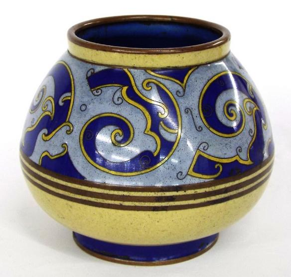 Cloisonne ovoid vase decorated with bands of blue and yellow scrolls