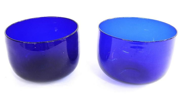 Matched pair of blue (possibly Bristol) glass finger bowls
