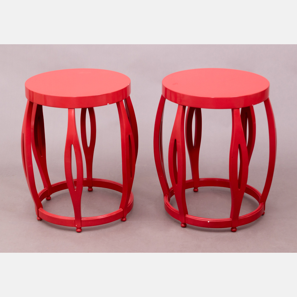 A Pair of Red Lacquered Side Tables