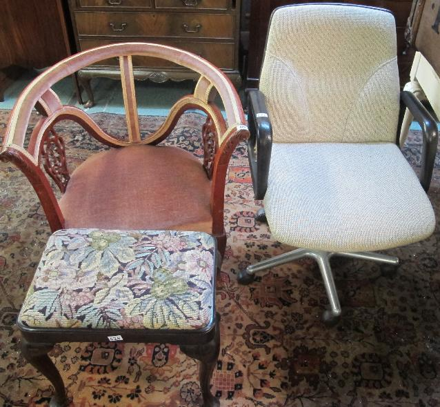 A swivel chair, reproduction bow back chair and a mahogany piano stool