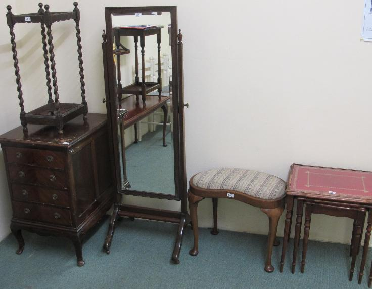 A cheval mirror, nest of tables, kidney stool, chest and umbrella stand