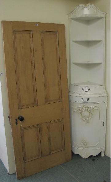 A Victorian panelled door and white painted corner display cabinet