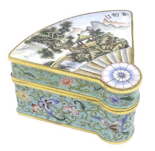 Canton enamel fan shaped trinket box decorated with a pagoda landscape
