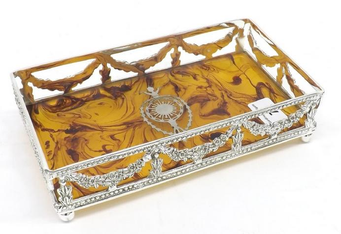 Silver plated pin tray with faux tortoiseshell pique work base