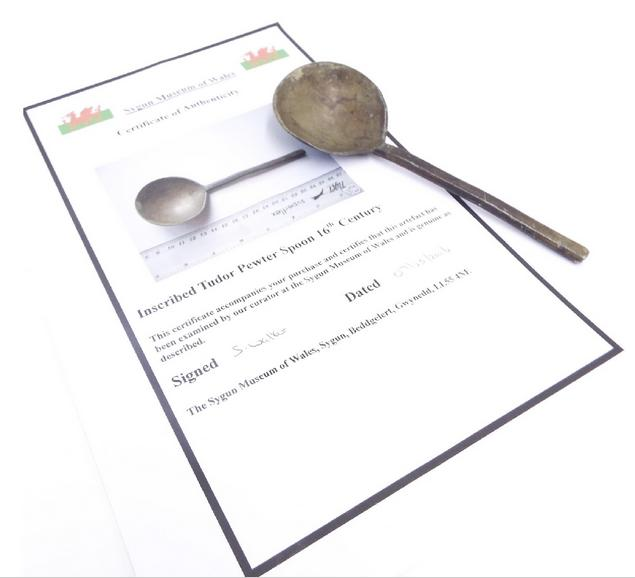 Tudor style pewter spoon with stamp mark to bowl and certificate of authenticity from the Sygun Museum of Wales