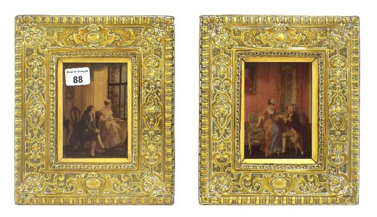 Pair of reverse glass paintings of Classical romantic scenes, within decorative embossed brass frames