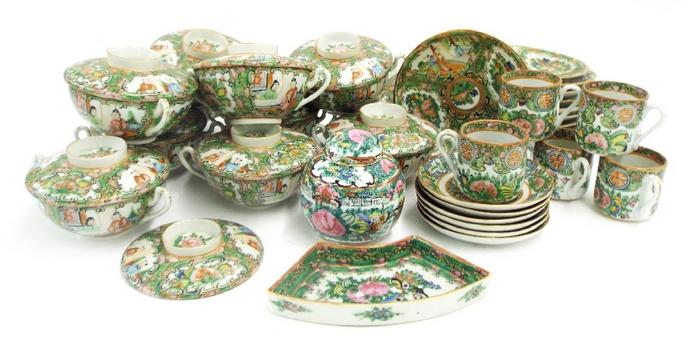 Canton famille rose egg shell porcelain tea service comprising various cups and saucers etc