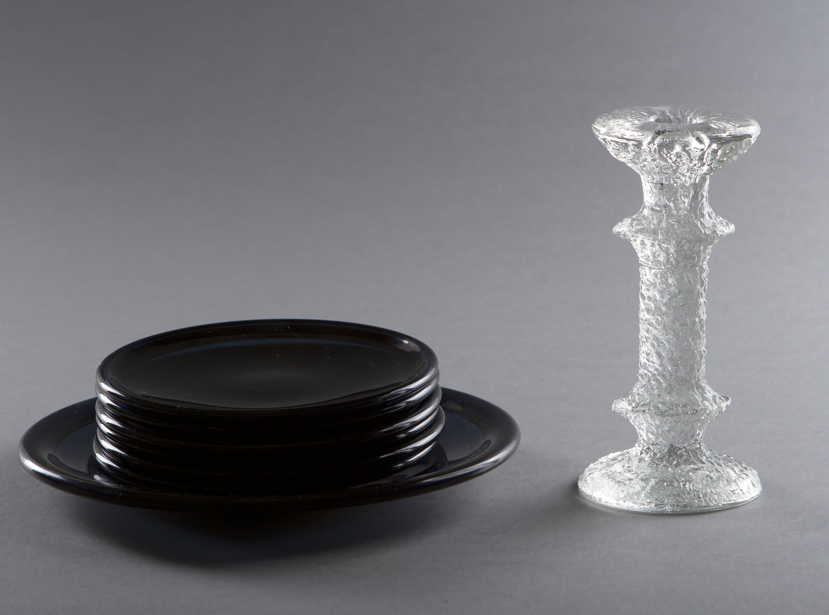 Plates and candlestick