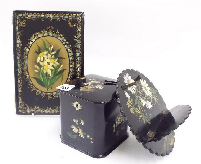 Collection of Victorian ebonised papier mache ware to include tea caddy with key and lock
