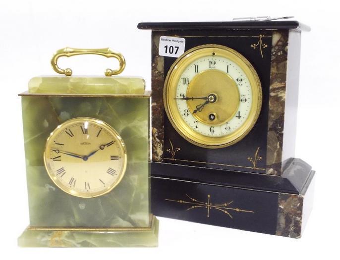 "Single train black slate mantel clock with 3.5"" dial"