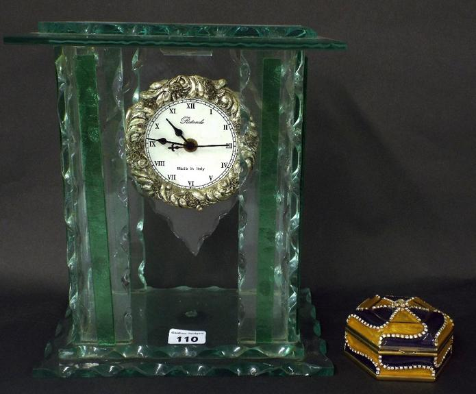 Italian frosted and moulded glass mantel clock marked Rotondo