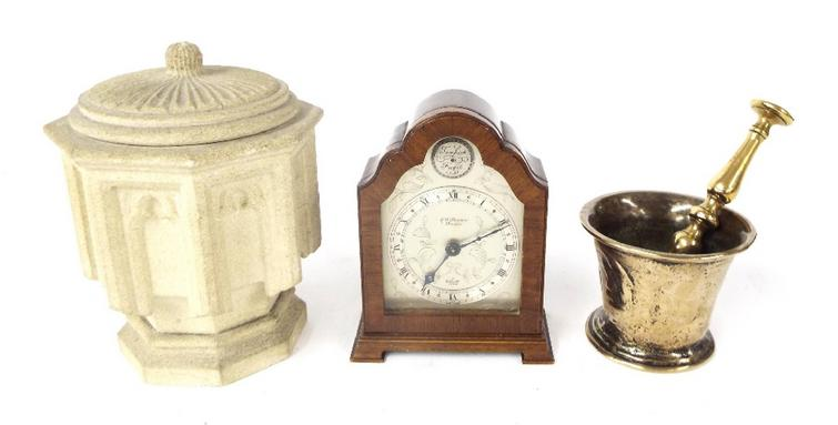 Mixed lot to include miniature stone font, pestle and mortar and small J W Benson mantel clock