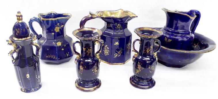 Masons Ironstone to include jug and bowl, two large jugs, pair of twin handled vases and a lidded faceted vase