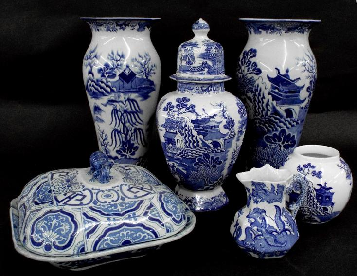 Masons Ironstone and other china to include a pair of baluster vases decorated with a pagoda garden landscape